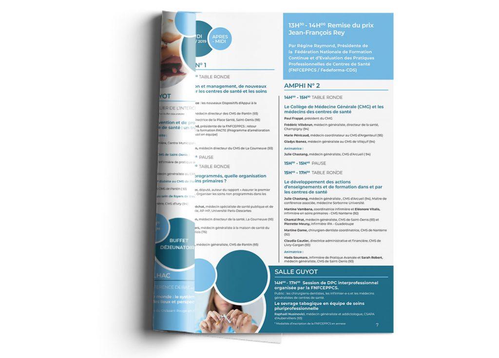 infographie programme congrès des centres de santé ouvert page interne gauche retourné