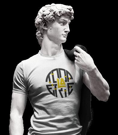 image statue avec t-shirt la tooperie graphiste / webdesigner